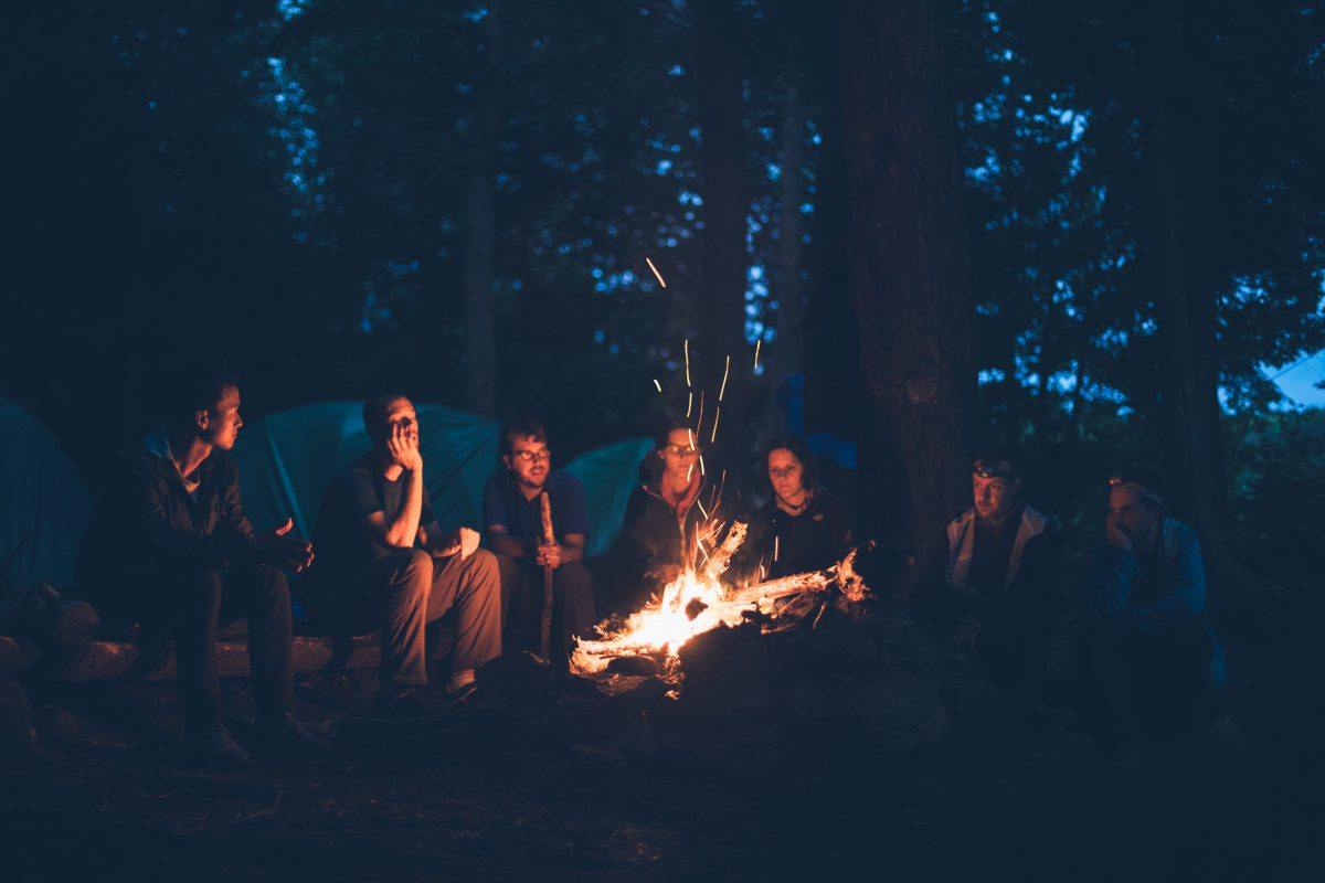 people telling stories around the campfire. Our take-it-in-turns story.